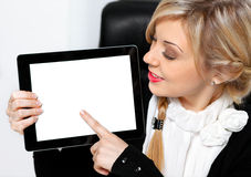 Businesswoman holding ipad Stock Photo