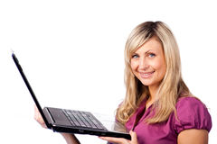 Businesswoman Holding a laptop Stock Images