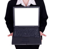 Businesswoman holding a laptop Stock Photos