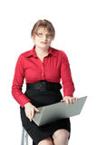 Businesswoman holding laptop computer Royalty Free Stock Images
