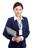 Businesswoman holding laptop Royalty Free Stock Images