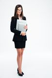 Businesswoman holding laptop and tablet computer Royalty Free Stock Images