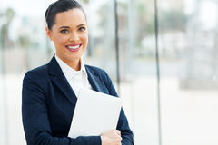 Businesswoman holding laptop Royalty Free Stock Photo