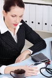 Businesswoman holding manometer. Stock Photography