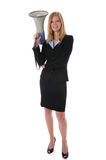 Businesswoman Holding Megaphone Stock Image