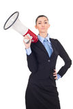 Businesswoman holding a megaphone Stock Photo