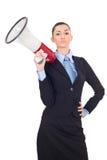 Businesswoman holding a megaphone stock photo