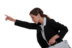 Businesswoman holding metal briefcase Royalty Free Stock Photos