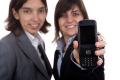 Businesswoman holding mobile phone Stock Photos