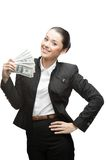 Businesswoman holding money Stock Images