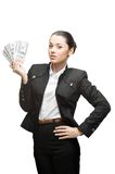 Businesswoman holding money Royalty Free Stock Image