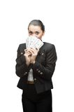 Businesswoman holding money Royalty Free Stock Photos