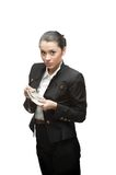 Businesswoman holding money Stock Photos