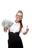 Businesswoman holding money Royalty Free Stock Images