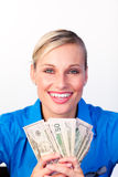 Businesswoman holding money in her hands Stock Images