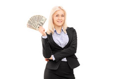 Businesswoman holding money Royalty Free Stock Photography