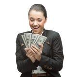 Businesswoman holding money Royalty Free Stock Photos