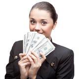 Businesswoman holding money Stock Photos