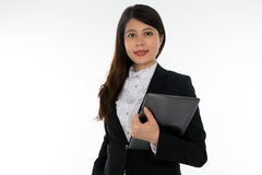 Businesswoman holding Note Pad Stock Images