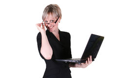 Businesswoman holding notebook Stock Photo