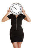 Businesswoman holding office clock Royalty Free Stock Image
