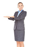 Businesswoman holding out her empty palms Royalty Free Stock Image