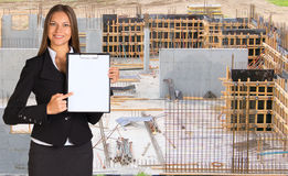 Businesswoman holding paper holder Royalty Free Stock Image