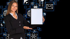 Businesswoman holding paper holder Stock Photos