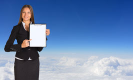 Businesswoman holding paper holder Stock Photo