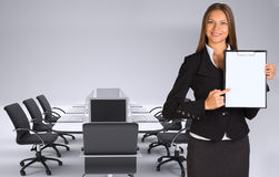 Businesswoman holding paper holder Stock Images