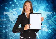 Businesswoman holding paper holder Royalty Free Stock Photography