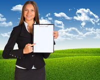 Businesswoman holding paper holder Stock Image