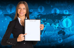 Businesswoman holding paper holder Royalty Free Stock Photos