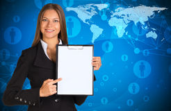 Businesswoman holding paper holder Royalty Free Stock Images