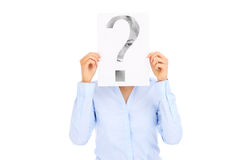 Businesswoman holding paper with question mark Stock Photo