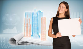 Businesswoman holding paper sheet Royalty Free Stock Photo