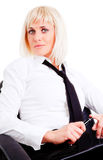 Businesswoman holding pen Royalty Free Stock Photos