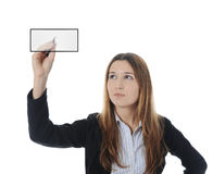 Businesswoman holding a pen Royalty Free Stock Photos