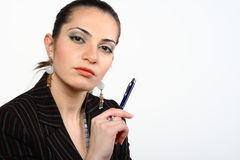 Businesswoman holding a pen Royalty Free Stock Image