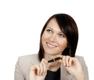 Businesswoman holding a pen Royalty Free Stock Images