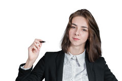 Businesswoman holding the pen in her hand. Portrait of businesswoman holding the pen in her hand isolated on white Stock Photo