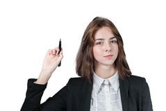 Businesswoman holding the pen in her hand Stock Photo