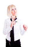 Businesswoman holding pen over white Royalty Free Stock Photo