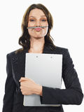 Businesswoman Holding Pen Under Her Nose Royalty Free Stock Photo