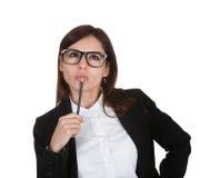 Businesswoman holding pencil Stock Photo