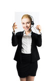 Businesswoman holding a picture of herself, showing positive attitude as a facade Stock Photos
