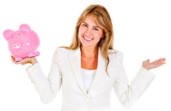 Businesswoman holding a piggybank Royalty Free Stock Image