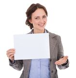 Businesswoman holding placard Royalty Free Stock Images