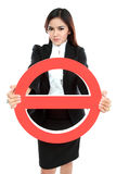 Businesswoman holding prohibited sign Stock Photography