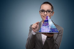 The businesswoman holding pyramid in business concept Stock Photos